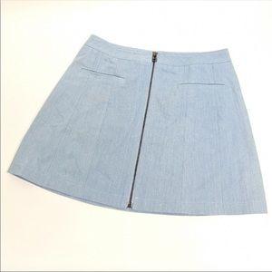 Lulu's Chambray Denim Zip Up Skirt
